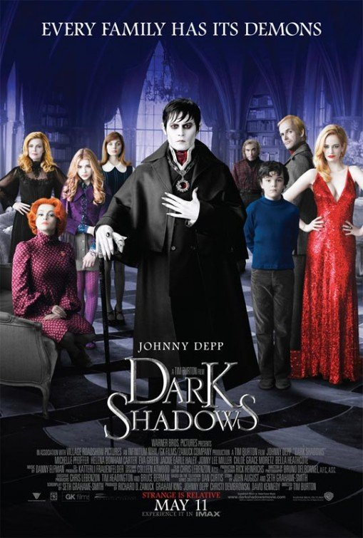 Dark Shadows movie poster starring Johnny Depp, directed by Tin Burton