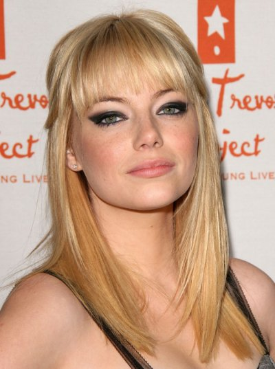 emma stone blonde bangs. Pictures of Emma Stone with