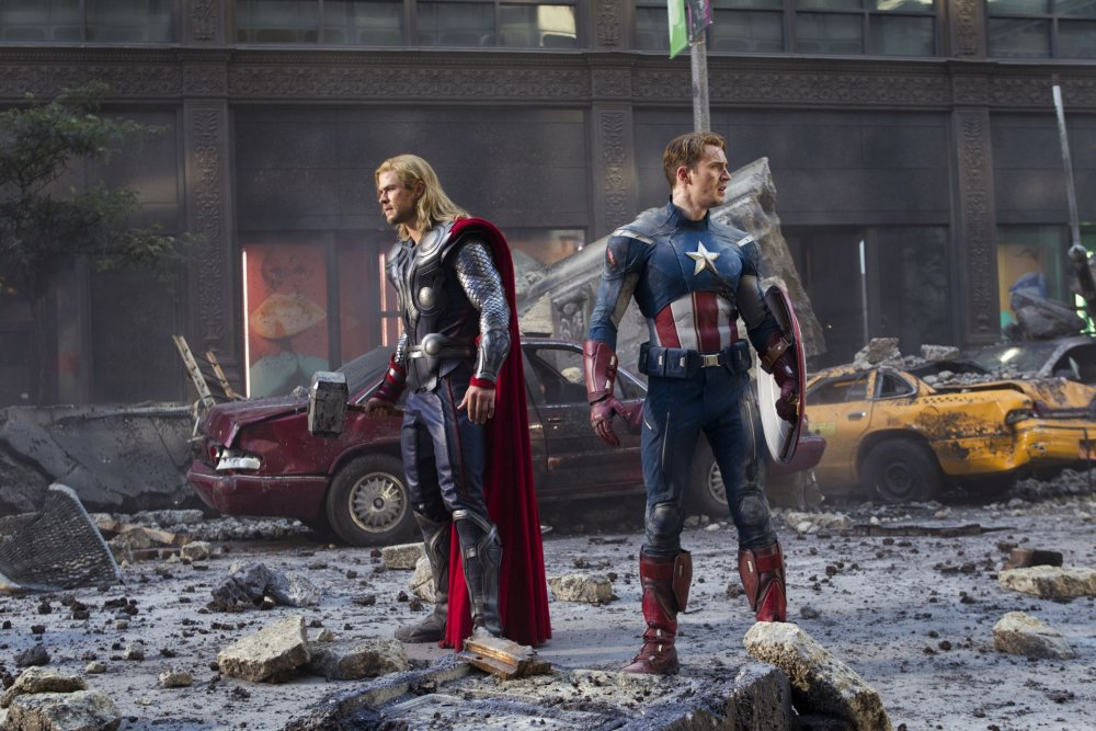 Captain America and Thor in Marvel's The Avengers movie