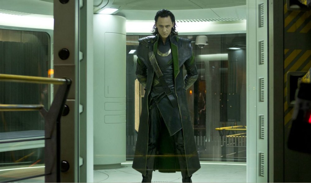 Tom Hiddleston as Loki in a scene from Marvel's The Avengers movie.
