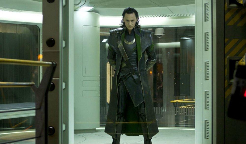 Tom Hiddleston as Loki in a scene from Marvel's The Avengers movie.