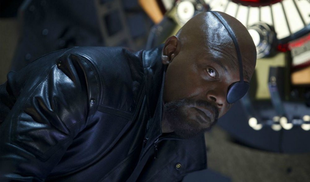 Samuel L. Jackson as Nick Fury in The Avengers movie.