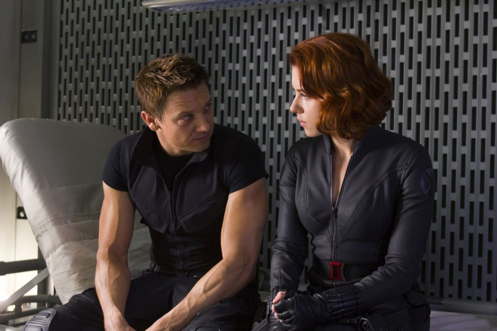 Hawkeye and Black Widow in a scene from Marvel's The Avengers movie.