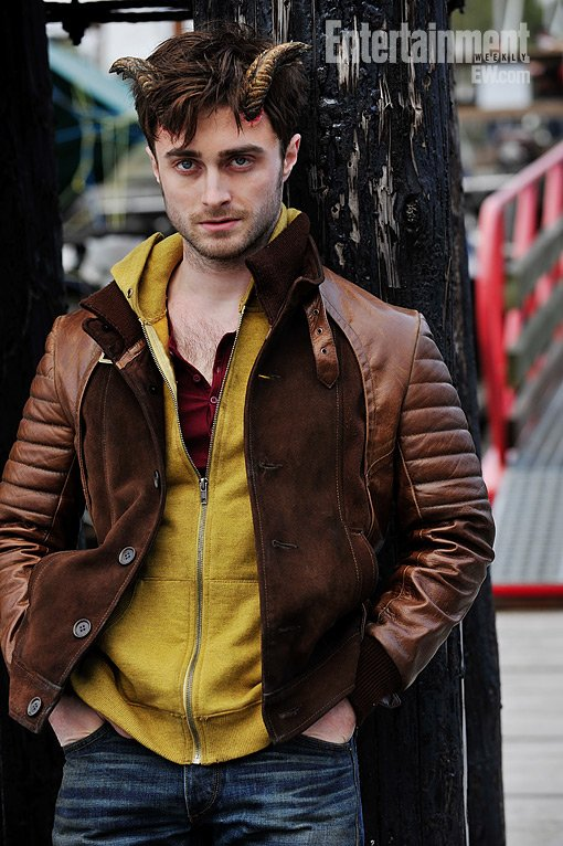 Daniel Radcliffe posing in a scene from his new movie Horns.