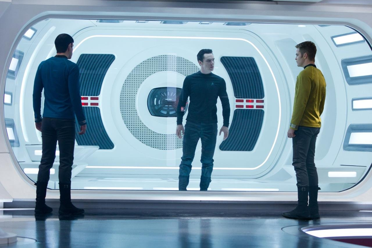 Chris Pine, Zachary Quinto and Benedict Cumberbatch in the Star Trek Into Darkness movie.